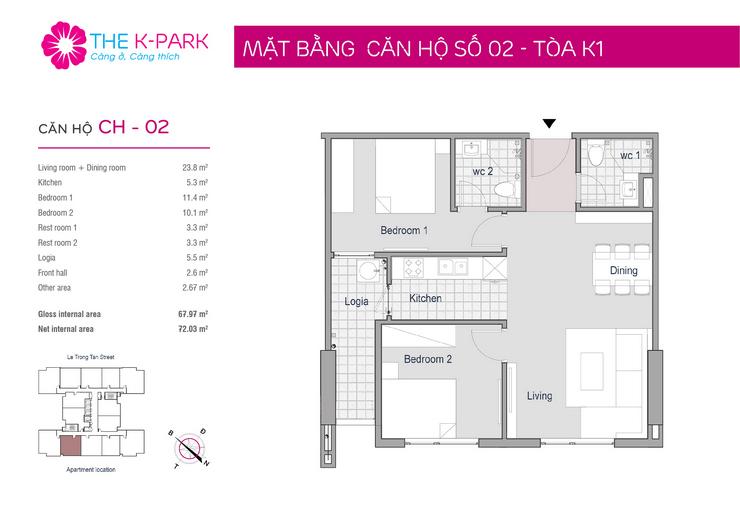 Mặt bằng thiết kế căn 02 toà K1 chung cư The K Park Văn Phú