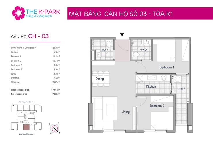 Mặt bằng thiết kế căn hộ 03 The K Park văn Phú