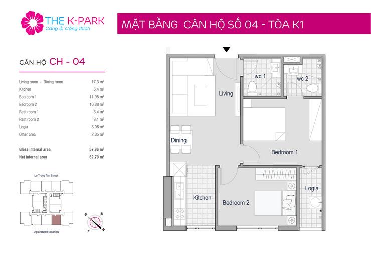 Thiết kế mặt bằng căn hộ The KPark 04