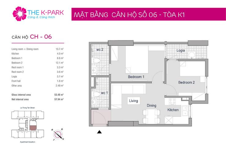 Mặt bằng thiết kế căn hộ 06 toà nhà The KPark Văn Phú