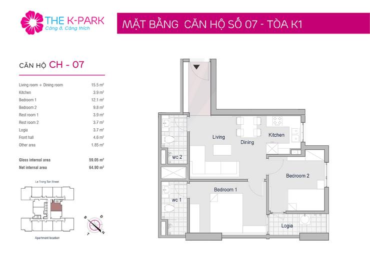 Mặt bằng căn hộ 07 toà K1 chung cư K Park Văn Phú