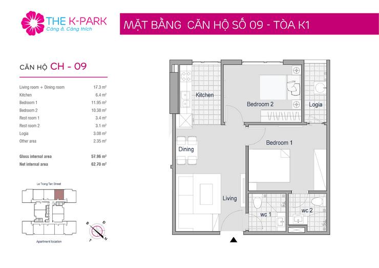 mặt bằng thiết kế căn hộ 09 chung cư The K Park Văn Phú