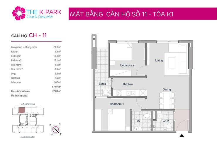 Mặt bằng căn hộ 11 toà nhà The K Park Văn Phú