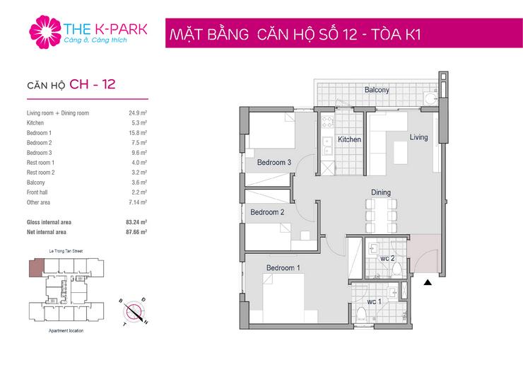 thiết kế căn hộ 12 chung cư KPark Văn Phú