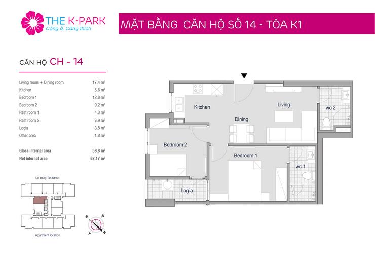 mặt bằng căn hộ 14 chung cư Kpark Văn Phú