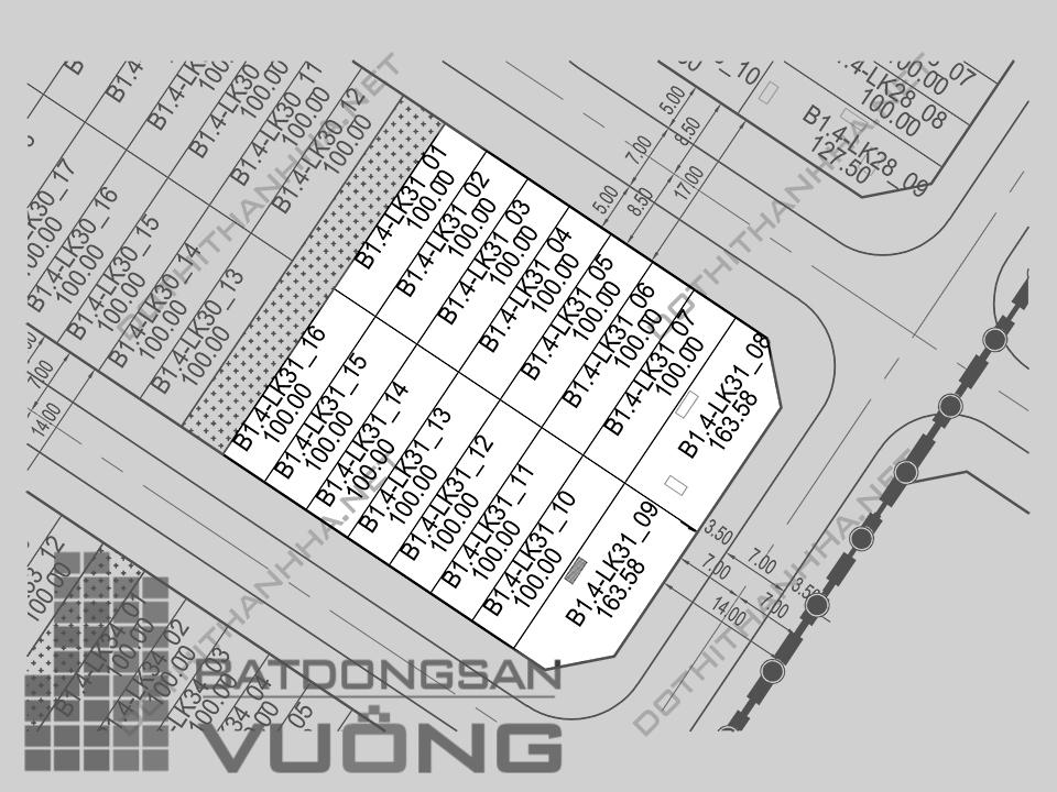 Bán Liền kề phân khu B1.4 lô LK31, mặt đường 17m, hướng nhà Đông - Nam, Khu Đô Thị Thanh Hà Cienco 5 - Mường Thanh [#H1284.1097]