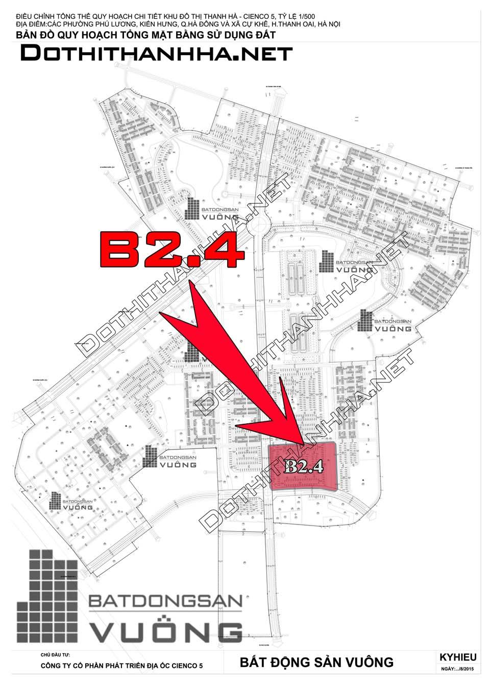 Bán Liền kề phân khu B2.4 lô BT05, mặt đường 50m, hướng nhà Tây, Khu Đô Thị Thanh Hà Cienco 5 - Mường Thanh [#H1290.1102]