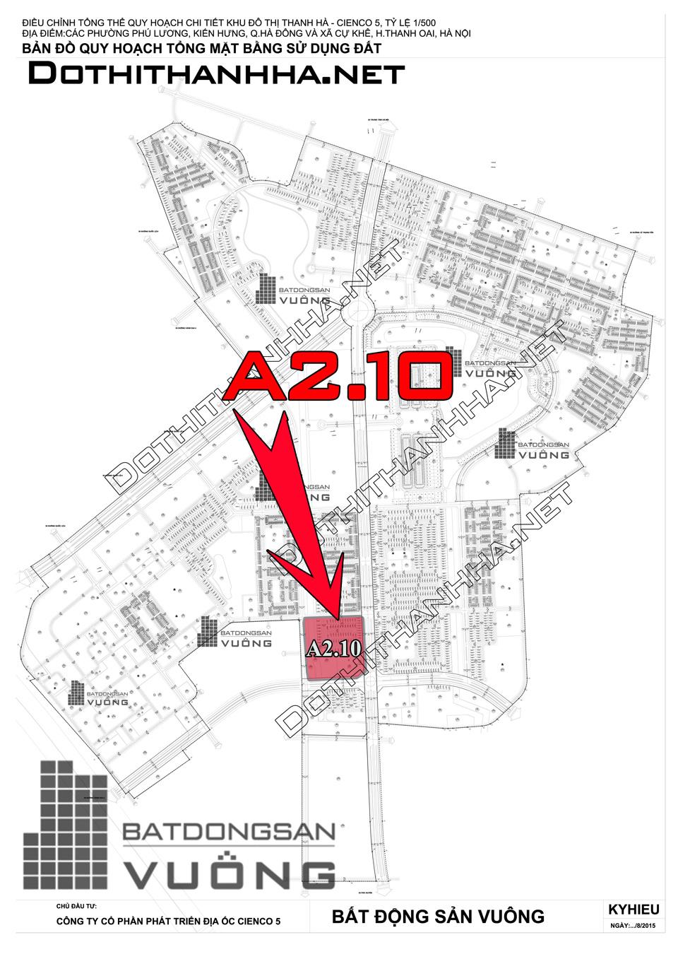 Bán Liền kề phân khu A2.10 lô BT01, mặt đường 50m, hướng nhà Đông, Khu Đô Thị Thanh Hà Cienco 5 - Mường Thanh [#H1291.1103]