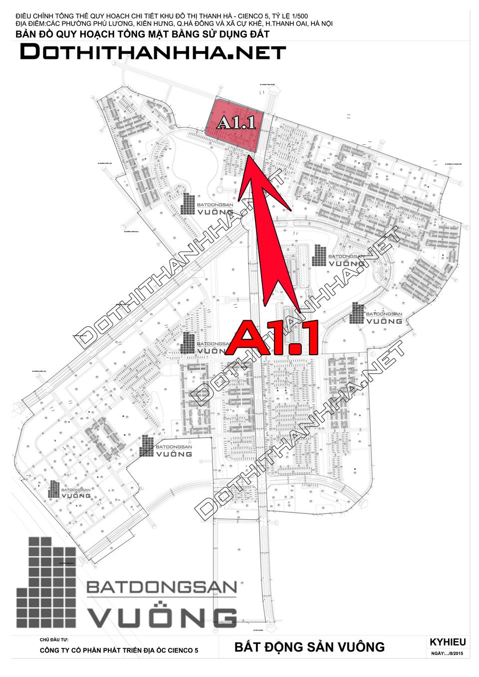 Bán Liền kề phân khu A1.1 lô BT06, mặt đường 25m, hướng nhà Tây - Nam, Khu Đô Thị Thanh Hà Cienco 5 - Mường Thanh [#H1292.1104]